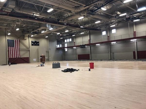 fort Sam gym floor in progress